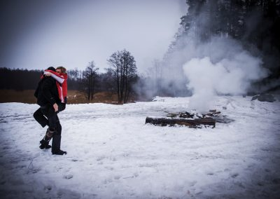 Ognisko zimą